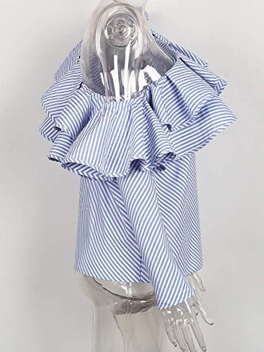 Gelb avec Slim Haut Spcial Une Dsinvolte Volants Blouse Epaule Fit Dame Chemise Shirt Rayures Branch Style Manches Elgante Femme Et Longues Printemps qOxwTwP1Xf
