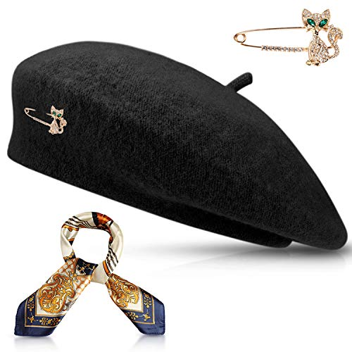 Jeicy Wool Beret Hat Solid Color French Beret with Skily Scarf and Brooch (Black)