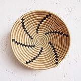 Small African Basket- Tanga/Rwanda Basket/Woven Bowl/Sisal & Sweetgrass Basket/Tan, Black