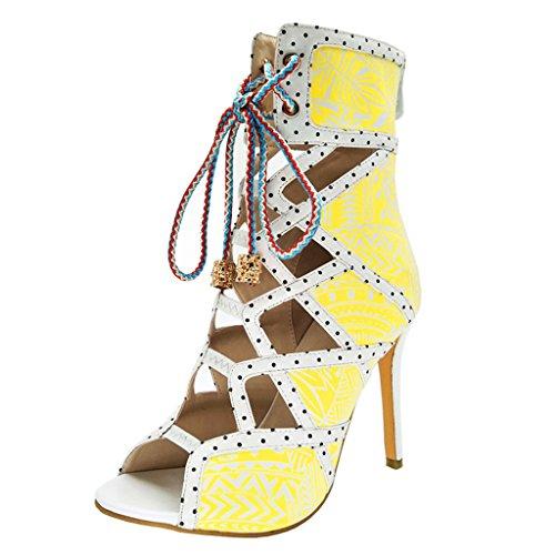 40 Sandals Girl Heels Yellow Fish Print Up Women's Mouth Yellow Lace Retro gao 6ZwOxPqzXy