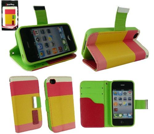 Emartbuy® Apple Iphone 4G / 4Gs / 4S Luxury Desktop-Ständer Wallet Fall / Abdeckung / Pouch Blocks Rosa / Gelb / Weiß Mit Kreditkartenfächer Und Lcd Screen Protector