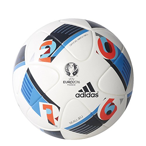 adidas Performance Euro 16 Official Match Soccer Ball, White/Bright Blue/Night Indigo, 5