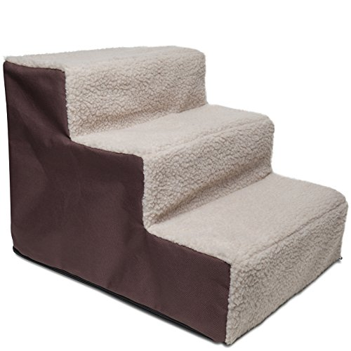 Paws & Pals Dog Stairs to get on High Bed for Cat and Pet Steps at Home or Portable Travel Up to 175 lbs - Brown