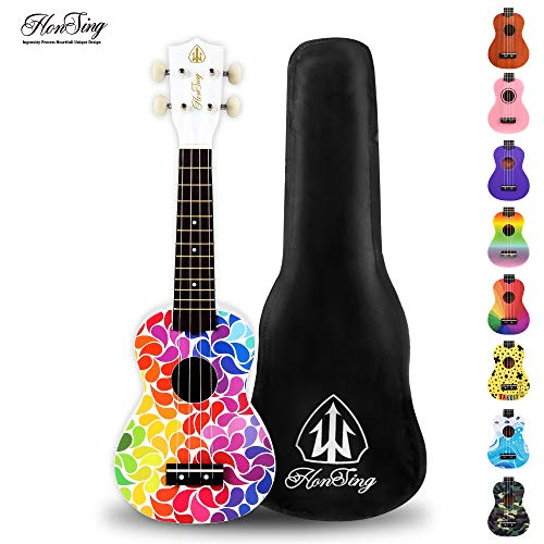 honsing Kid Ukulele ,Soprano Ukulele, Colorful Floral Petal Painting, Hawaii Ukulele for Kids 21 inch Matte Finish (Best Ukulele For Beginners)