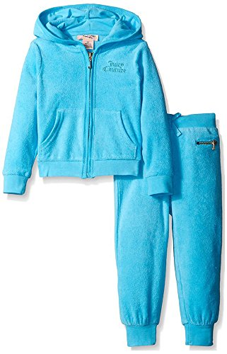 Juicy Couture Baby Girls French Terry Jog Set (18M, Blue) ()