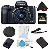 Canon EOS M50 Mirrorless Digital Camera with 15-45mm Lens (Black) Basic Bundle w/ 32GB Memory Card - International Model