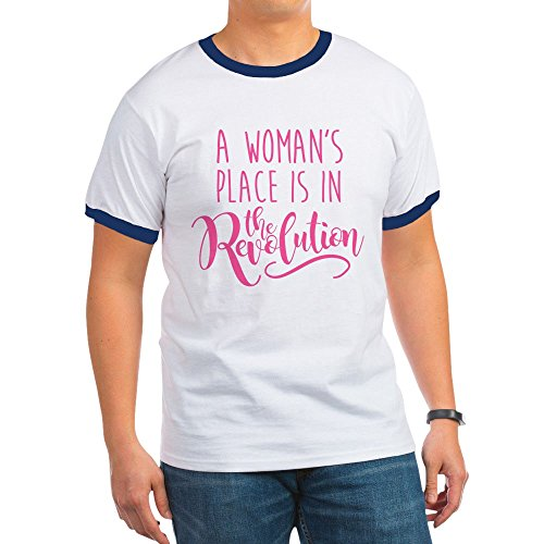 CafePress - Womens Place Revolution - Ringer T-Shirt, 100% Cotton Ringed T-Shirt, Vintage Shirt Navy/White ()