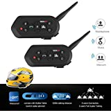 Radioddity 2-Pack E6 Bluetooth Motorcycle Helmet Intercom VOX Interphone Headset, 1.2KM Full Duplex Interphone for Outdoor Sports Walkie Talkie 6 Riders