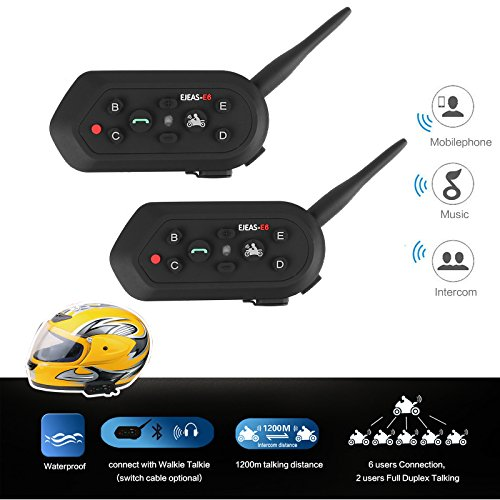Radioddity 2-Pack E6 Bluetooth Motorcycle Helmet Intercom VOX Interphone Headset, 1.2KM Full Duplex Interphone for Outdoor Sports Walkie Talkie 6 Riders by Radioddity