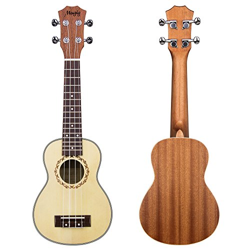 Geared Tuners (Mugig Valentine's Day Gift Soprano Ukulele 21 Inches 4 Strings Spruce Top Panel Rosewood Fretboard Silver Geared Tuners Instrument for Beginners and Advanced (21 inch))