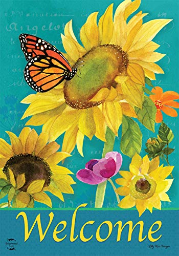 (Briarwood Lane Monarch and Sunflowers Spring House Flag Welcome Floral Butterflies 28