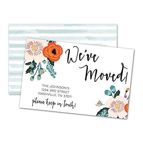 - We've Moved Floral Moving Announcements (White)