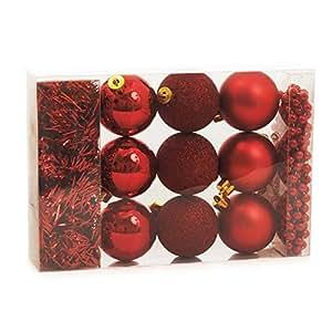 Kit Árvore de Natal Bola + Festão + Cordão 11 pçs Vermelho