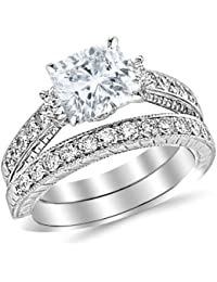 2.04 Carat Classic Channel Set Wedding Set Bridal Band & Diamond Engagement Ring with a 1.01 Carat GIA Certified Cushion Cut I Color VVS2-VS1 Clarity Center Stone