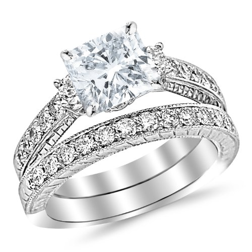 White Gold Three Stone Vintage With Milgrain & Filigree Bridal Set with Wedding Band & Diamond Engagement Ring with a 0.7 Carat GIA Certified Cushion Cut F Color VS2 Clarity Center Stone