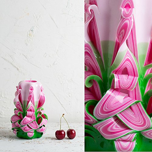 [Premium Pink and Green Handmade Decorative Carved Candle - Mother's Day Gift - EveCandles] (Cool Homemade Decorations For Halloween)