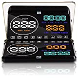 Pyle Universal 5.5'' Car HUD Head-Up Display Windshield Screen Projector Vehicle Speed & Diagnostic Monitor System Plug & Play OBD2/EUOBD Water Temp, Voltage, Fuel Indications & More (PHUD18OBD)