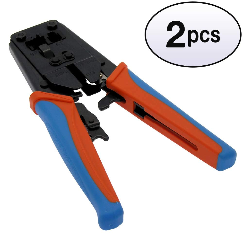 GOWOS (2 Pack) 8P8C(RJ45)/6P6C(RJ12)/6P4C(RJ11) Crimp Tool w/Rachet by GOWOS