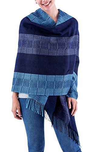 NOVICA Blue 100% Peruvian Alpaca Wool Shawl, 'Huancayo Blues'