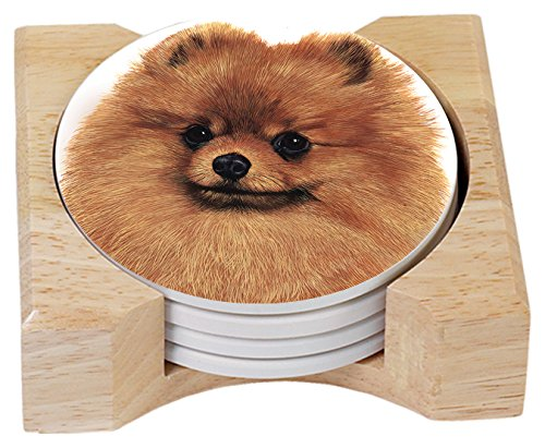 Pomeranian Coasters In Wooden Holder<br>Aborbent, Set of 4