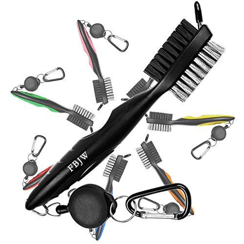 FBJW Golf Club Brush, 2 Sided Bristle Club Groove Cleaner with 2 Ft Retractable Zip-line Aluminum Carabiner, Ergonomic Designed and Lightweight, Easily Attaches to Golf Bag(Black)