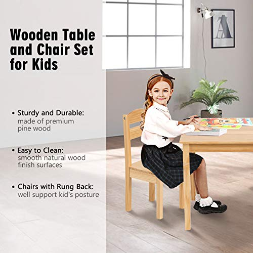 Costzon Kids Wooden Table and 4 Chair Set, 5 Pieces Set Includes 4 Chairs and 1 Activity Table, Toddler Table for 2-6 Years, Playroom Furniture, Picnic Table w/Chairs, Dining Table Set (Natural)