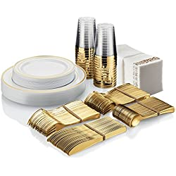 BloominGoods Party & Wedding Hard Plastic Disposable Tableware Plates Set - Gold Rimmed Dinner & Dessert Plates & Tumblers, Gold Disposable Silverware, Gold Napkins (25 Guests - 225 Pieces)