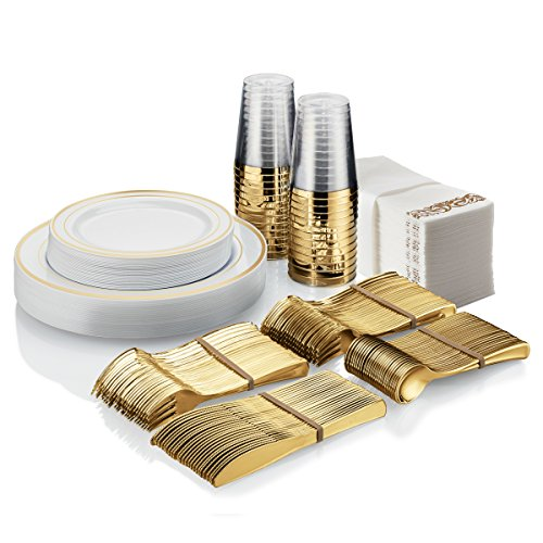25 Guest Disposable Gold Dinnerware Set | Heavy Duty Plastic Plates, Cups, Silverware & Napkins. 50 Forks, 25 Spoons, 25 Knives, 25 Dinner Plates, 25 Dessert Plates & 25 Cups | Bonus 50 Guest Towels for $<!--$65.95-->