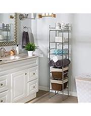 """Honey-Can-Do BTH-03484 6 Tier Metal Tower Bathroom Shelf, 12.6"""" L x 11"""" W x 59.8"""" H, Chrome"""