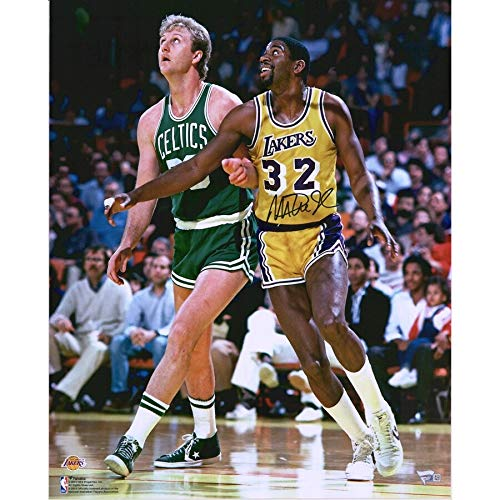 Magic Johnson Los Angeles Lakers FAN Autographed Signed 16x20 Vs Larry Bird In The Post Photograph - Certified Signature