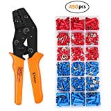 VAKOO Crimper Tool Kit, A Self-adjustable Ratchet Wire Crimping Plier AWG 20-14 with 450 PCS Terminal Connectors for Electrical Wiring Connection - Orange