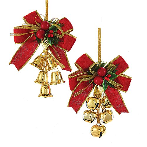 Kurt Adler 1 Set 2 Assorted Red, Green And Gold Bow And Bells Christmas Ornaments