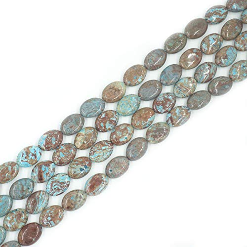 Lace Agate Oval Pendant - 15x20mm Natural Blue Crazy Lace Agate Beads Oval Loose Gemstone Beads for Jewelry Making Strand 15 Inch (20pcs)