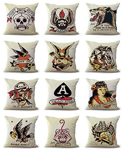 sale Sailor Jerry Tattoo Cushion Covers Decorative Pillow Cover Bulk Lots Home Decoration Pillow case ()