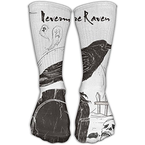 Etrfr Nevermore Raven Black Bird Halloween Spooky 1 Custom Knee High Socks Football Baseball Long Stockings For Men Women 30CM -