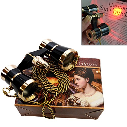 HQRP Opera Glasses Black w/Crystal Clear Optic (CCO) Gold Trim w/Necklace Chain/with Red Light