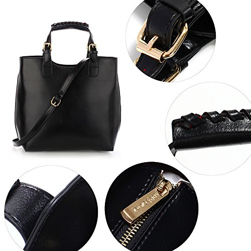 Design College Extra Bag Office Handbag With Best Large Leather New Strap 1 Black Ladies For Design Women OqzdqR