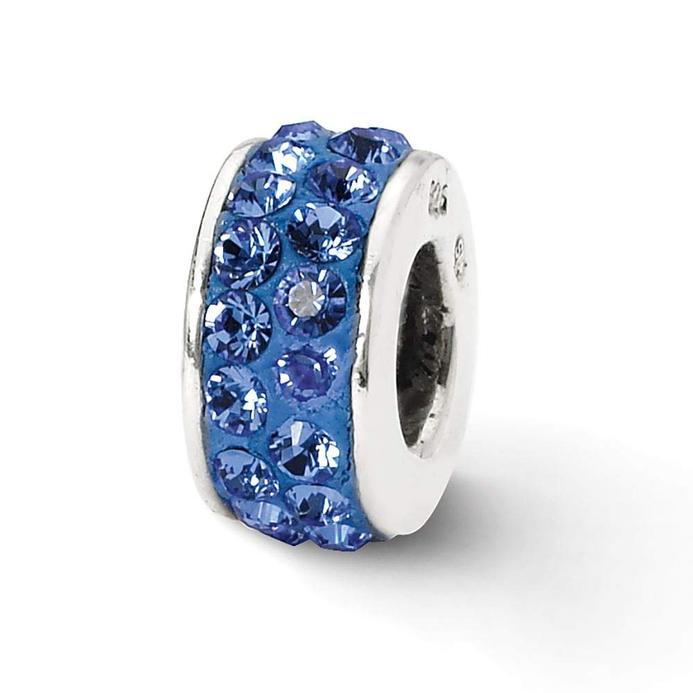 Sterling Silver Reflection Blue Double Row Crystal Solid Bead