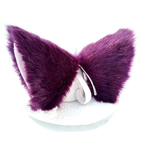 Sheicon Cat Fox Fur Ears Hair Clip Headwear Anime Cosplay Halloween Costume Color Purple Size One Size