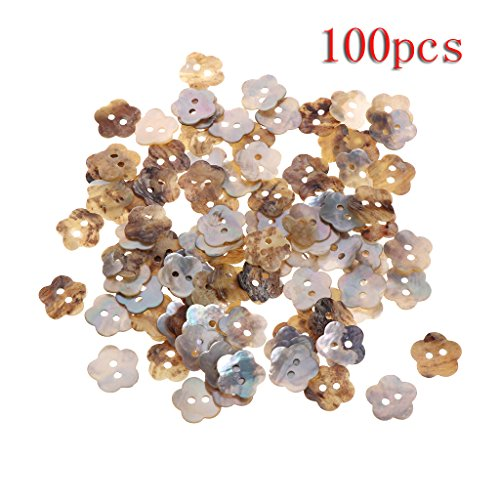 (Susada 100Pcs Mother Of Pearl Flower Shell Sewing Button 2 Holes Sewing DIY Craft 14mm)