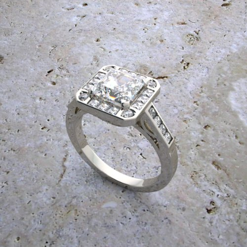 Square Shape Diamond Accented Ring - 7
