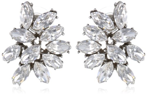 Ben Amun Swarovski Crystal Cluster Earrings, Handmade in the USA, Pierced Posts, Length 1 (2.5cm), Width .75 (1.9cm)