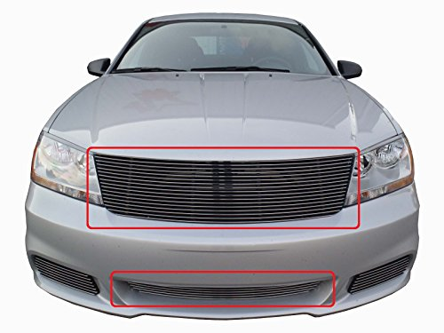 USA Made! Fits 2011-2014 Dodge Avenger 2PC Chrome Polished Replacement Billet Grille Combo Kit