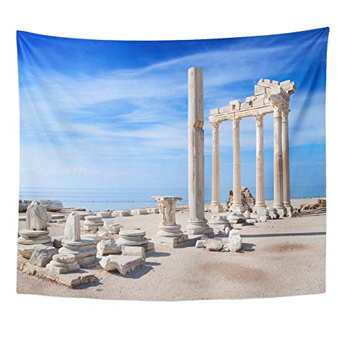 Emvency Tapestry Print 50x60 Inches Colorful Antalya Temple Apollo Ancient Ruins Turkey Side Greek City Roman Wall Hangings Home Decor -