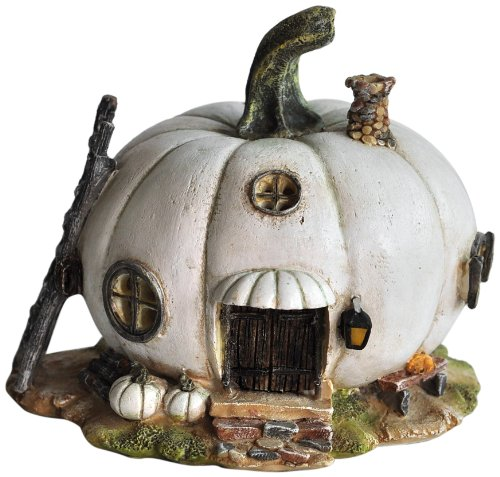 Top Collection Miniature Fairy Garden and Terrarium White Pumpkin Fairy House Statue by Top Collection