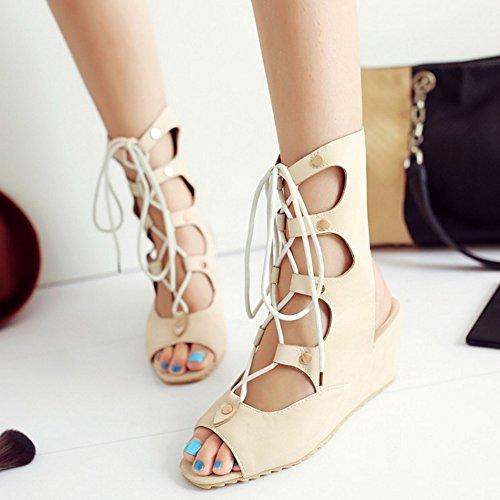COOLCEPT Mujer Moda Cordones Sandalias Punta Abierta Tacon de Cuna Slingback Zapatos Verano Boots Beige