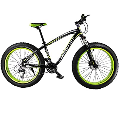 Richbit Green Black New 2015 Updated Snow Bike Fat Tire Bicycle with Suspension Fork 27 Speeds Hydraulic Disc Brakes for Beach Off Road