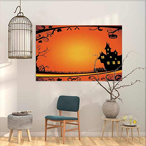 Oncegod Canvas Pictures Sticker Murals Halloween Framework with Curvy Tree Branches Swirls Leaves Gothic Castle Festival Oil Canvas Painting Wall Art Orange Yellow Black W23 xL19 ()