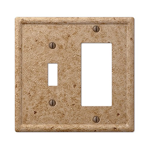 Travertine Switchplates - Tumbled Faux Stone Noce Toggle Rocker Combo Wall Plate, Noce Resin