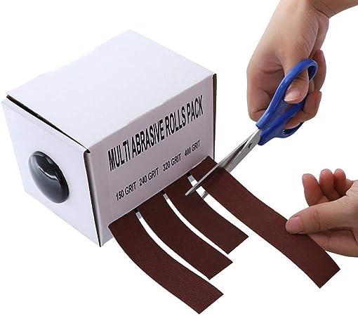 4 rollos de cinta de lija de lija de tela esmeril de lija seca automoci/ón Cuasting caja de cintur/ón abrasivo de madera cintas enrollables para volteadoras de madera